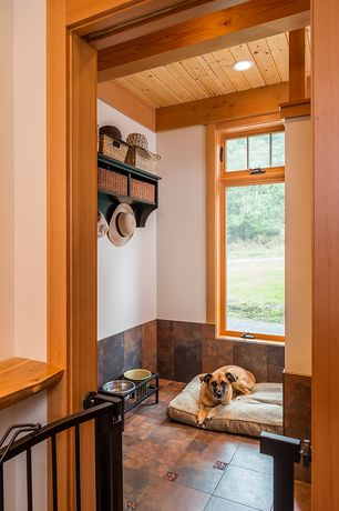Rustic Mud Room with Pottery Barn - Samantha Entryway Bench and Shelf, terracotta tile floors, Built-in bookshelf