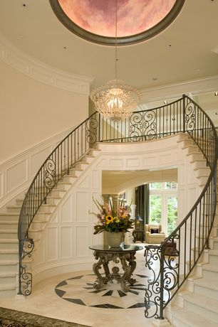 Traditional Staircase with Double staircase, Wainscotting, High ceiling, Carpet, Crown molding, can lights