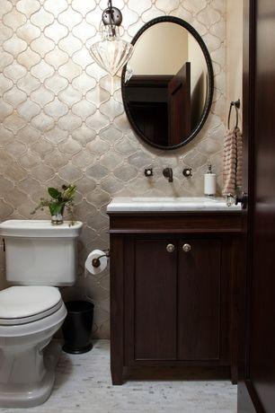 Art Deco Powder Room with stone tile floors, Flush, Complex marble counters, Clear spirit by grandeco wallpaper, Powder room