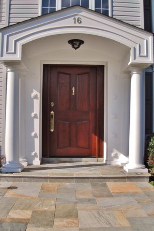 Traditional Front Door with exterior stone floors, Pathway
