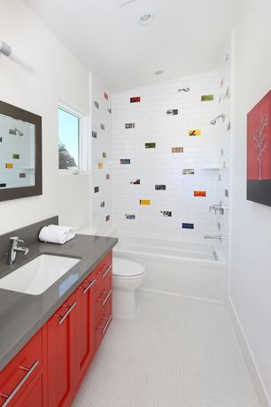 Contemporary Kids Bathroom with Undermount sink, Inset cabinets, Paint 2, no showerdoor, tiled wall showerbath, Casement