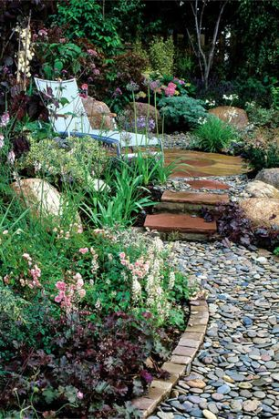 Rustic Landscape/Yard with Pathway, Ms international giallo fantasia 4 in. x 8 in. tumbled granite cobbles, Raised beds
