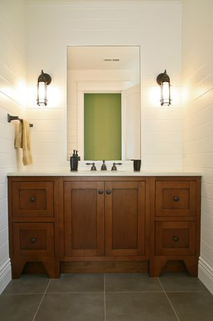 Craftsman Powder Room with Feiss OL2200BB Lighthouse Outdoor Sconce, large porcelain tile floors, Ren-Wil Beveled Wall Mirror