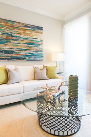 Contemporary Living Room with Crown molding, Hardwood floors, Standard height, Jerry antiqued silver table lamp