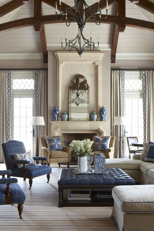 Traditional Living Room with Cement fireplace, Restoration hardware 1710 english baroque mirror, Chandelier, High ceiling