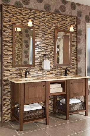 Craftsman Full Bathroom with Pendant light, picture window, Flat panel cabinets, Full Bath, stone tile floors, Double sink