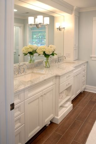 Traditional Master Bathroom with Double sink, Wall sconce, Crown molding, MS International Calacatta Gold Marble