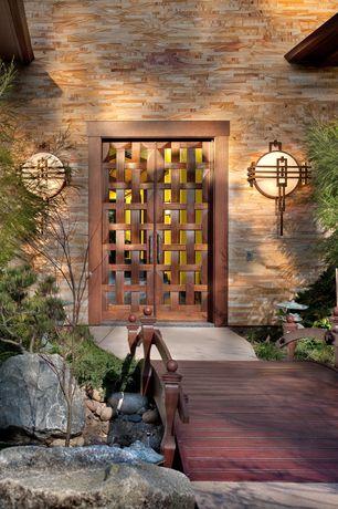 Asian Front Door with Pagoda garden decor, Wooden garden bridge, Bird bath, Lattice front door, Japanese maple tree