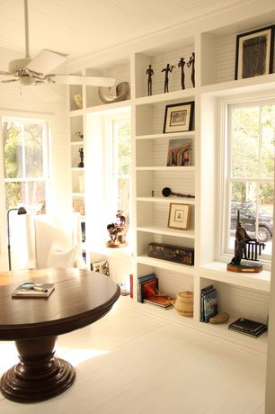 "Contemporary Entryway with Standard height, Built-in bookshelf, 54"" minka aire white sundowner energy star ceiling fan"