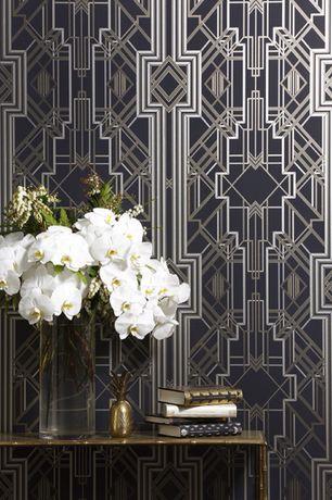 Contemporary Hallway with Kirklands Potted White Orchid Arrangement, Mokum Metropolis Wallpaper