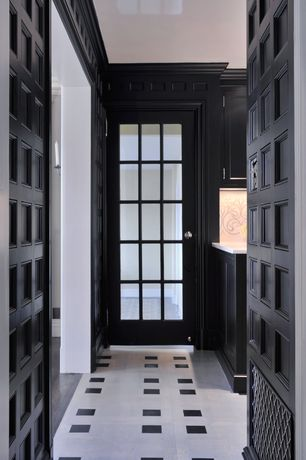 Traditional Hallway with Built-in bookshelf, Standard height, simple marble floors, French doors, Crown molding