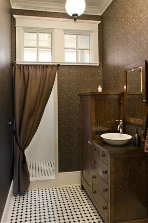 "Traditional 3/4 Bathroom with Somertile- metro octagon 2"" matte white w/ glossy black dot, flush light, Crown molding"