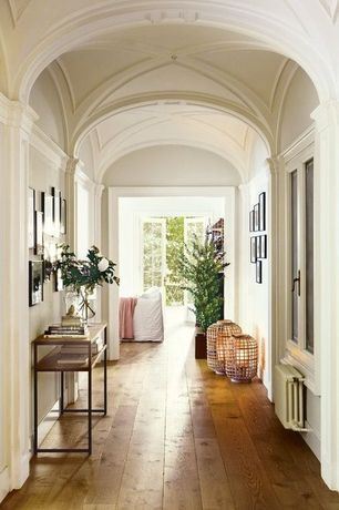 Traditional Hallway with Paint 2, French doors, Rustic storage console table, Paint, Casement, Hardwood floors, Crown molding