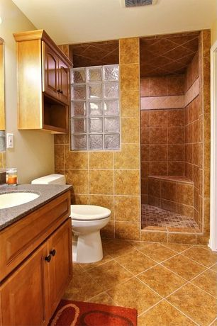 Traditional 3/4 Bathroom with Raised panel, Simple granite counters, Toto drake ii two piece toilet, Floor to ceiling tile