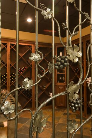 Mediterranean Wine Cellar with 2 Day Designs Reclaimed Russian River Kitchen Island / Bar, High ceiling, Built-in bookshelf