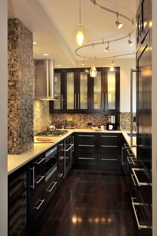 Contemporary Kitchen with Pendant light, Ceramic Tile, Glass panel, Alina Pendant, Dark Emperador Squares Marble Mosaic Tiles