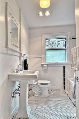 Traditional Full Bathroom with shower bath combo, Glass panel, flush light, Bathtub, Full Bath, Shower, Pedestal sink, Flush