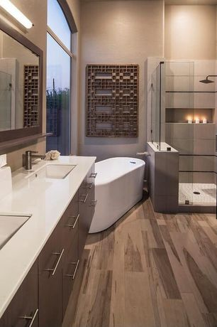 Contemporary Master Bathroom with Quartz counters, Kohler Verticyl Rectangular undermount bathroom sink in White, Double sink