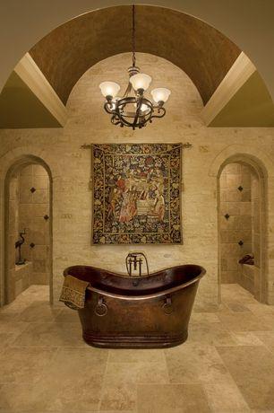 Mediterranean Master Bathroom with stone tile floors, Master bathroom, High ceiling, Pendant light, Bathtub, Crown molding