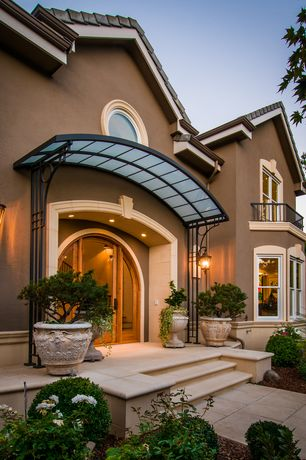 Traditional Front Door with Deck Railing, French doors, exterior concrete tile floors, double-hung window