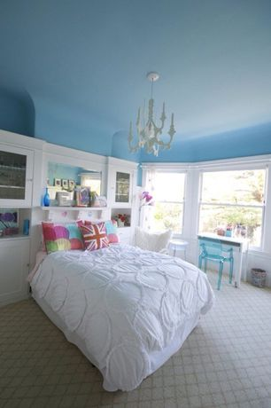 Traditional Kids Bedroom with Kartell louis ghost chair, Carpet, Blue ceiling, Painted ceiling, Chandelier