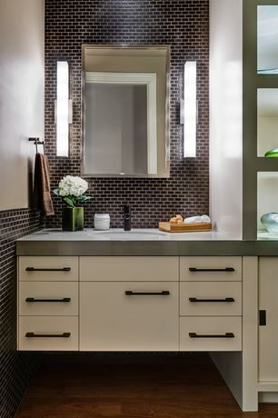 Contemporary Powder Room with Wall sconce, Hardwood floors, Estate Collection Basic Framed Mirror, Flush, Quartz counters