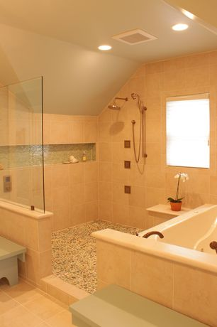 Modern Master Bathroom with Rain shower, Handheld showerhead, frameless showerdoor, Master bathroom, Jetted
