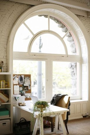 Traditional Home Office with Carpet, Universal Products Cork Bulletin Board, Arched window, Built-in bookshelf, Wainscotting
