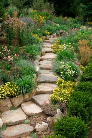 Rustic Landscape/Yard with Stone pavers, Garden path