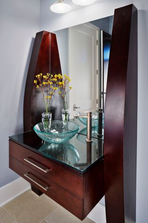 Contemporary 3/4 Bathroom with flat door, Flat panel cabinets, Vessel sink, Flush, Glass counters, Standard height