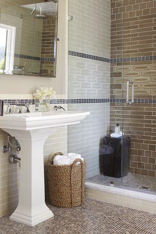 Traditional 3/4 Bathroom with Standard height, Casement, Rain shower, Shower, Wall Tiles, three quarter bath, Pedestal sink