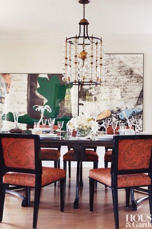 Contemporary Dining Room with Crown molding, Standard height, Hardwood floors, Chandelier