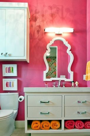 Eclectic Powder Room with Wood counters, Flush, European Cabinets, Undermount sink, Powder room, limestone tile floors