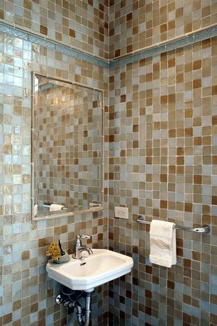 Modern Powder Room with High ceiling, Wall Tiles, Powder room, Wall mounted sink