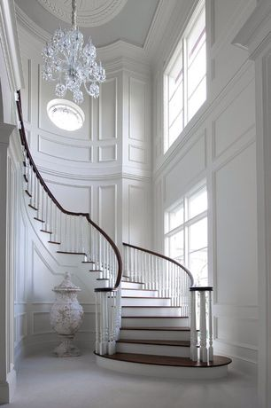 Traditional Staircase with Crystorama Lighting Group 1035-CH-CL-SAQ Traditional Crystal Glass Candle Style Chandelier