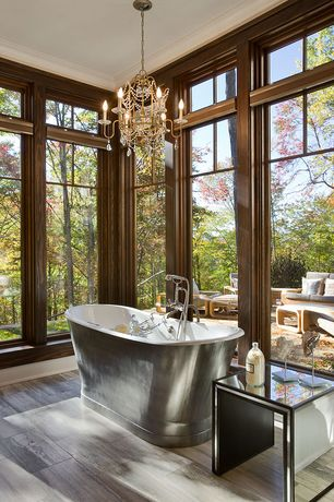Eclectic Master Bathroom with STRAND MIRRORED SIDE TABLE, Master bathroom, Chandelier, Freestanding, Crown molding