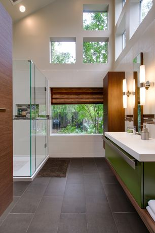 Contemporary Full Bathroom with frameless showerdoor, Undermount sink, Wall sconce, Roman shade, Dupont Corian Designer White