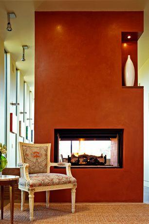 Modern Living Room with Safavieh chunky basketweave maize beige sisal rug, Paint 1, Paint 2, Empire armchair