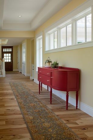 Traditional Hallway with Transom window, High ceiling, Hardwood floors, Glass panel door, Crown molding