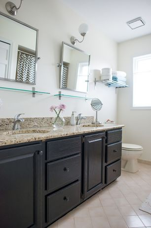 Traditional Master Bathroom with Simple granite counters, Target Rizzy Chevron Shower Curtain, Simple Granite, Raised panel