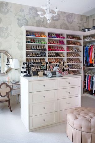 Traditional Closet with Built-in bookshelf, Carpet, Mirrored Bedroom Vanity Table, Beaded Octagon Wall Mirror - 44W x 44H in.