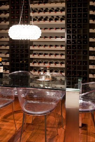 Contemporary Wine Cellar with Dandy Chair by Fiam, Nuevo Bulle Pendant - 19W in. Clear, Nuevo Tessa Dining Table