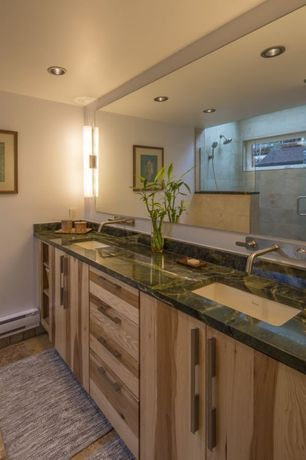 Contemporary Master Bathroom with Undermount sink, European Cabinets, Wall sconce, Master bathroom, frameless showerdoor