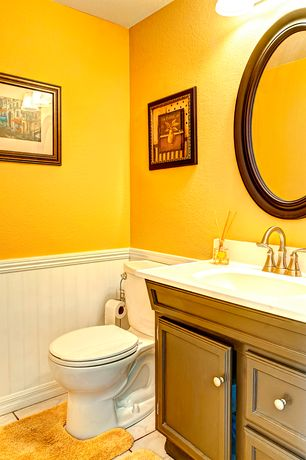 Cottage Powder Room with Flat panel cabinets, Limestone, complex marble tile floors, Powder room, Undermount sink, Paint