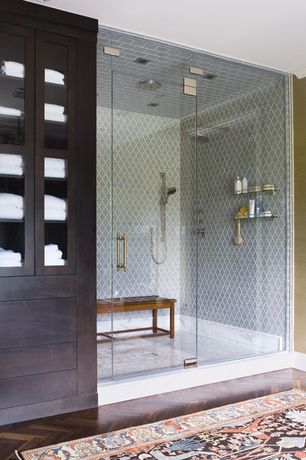 Contemporary Master Bathroom with White towels, Handheld showerhead, Flush, Glass panel, Teak shower bench, Quatrefoil tile