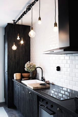 Eclectic Kitchen with Painted black cabinets, Industrial pendant light - rejuvenation baltimore a6626 pear-shaped