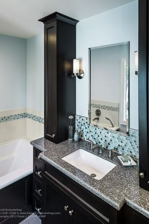 Traditional Master Bathroom with Flush, Access 'aqueous' brushed steel one-light pendant, Master bathroom, Casement, Bathtub