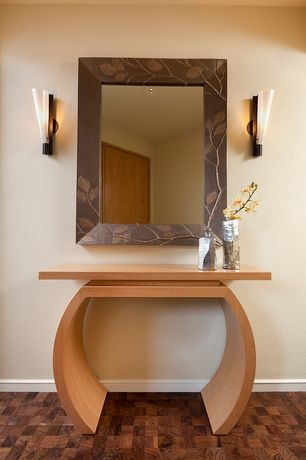 Modern Entryway with Wall sconce, Standard height, Hardwood floors
