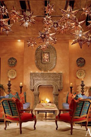 Eclectic Living Room with can lights, Daltile Catalina Canyon Noce 12x12 Porcelain Floor and Wall Tile, Paint, Fireplace