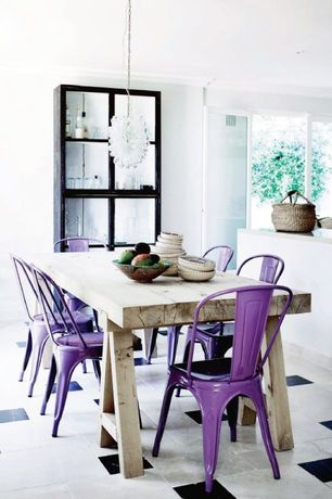 Eclectic Dining Room with French doors, Chandelier, Crown molding, Concrete tile , Amelia Metal Cafe Chair-Purple